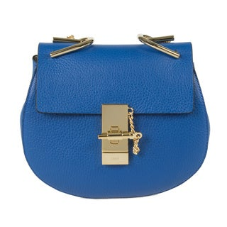 Chloe Drew Small Blue w/Gold Hardware Chain Shoulder Handbag