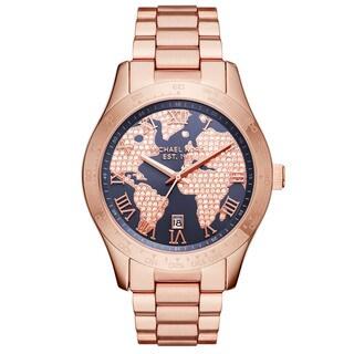 Michael Kors Women's MK6395 'Layton' World Map Crystal Rose-Tone Stainless Steel Watch