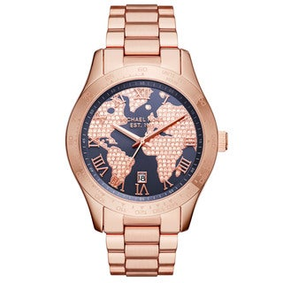 Michael Kors Women's 'Layton' World Map Crystal Rose-Tone Stainless Steel Watch