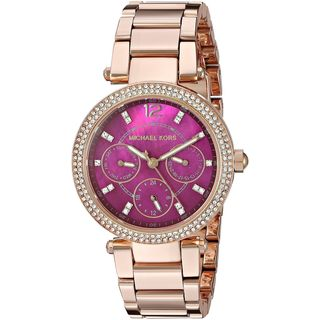 Michael Kors Women's MK6403 'Mini Parker' Multi-Function Crystal Rose-Tone Stainless Steel Watch