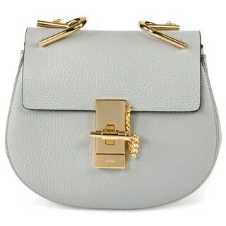 Chloe Drew Small Light Grey w/Gold Hardware Chain Shoulder Handbag