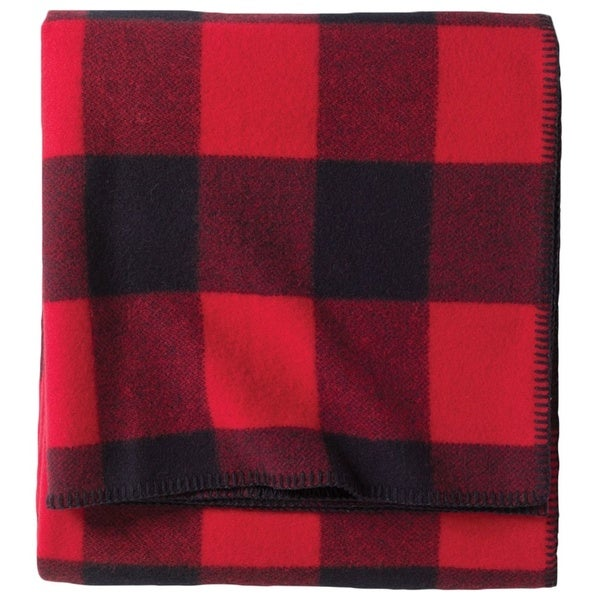 Pendleton Eco-Wise Rob Roy Red/Black Wool Queen-sized Blanket