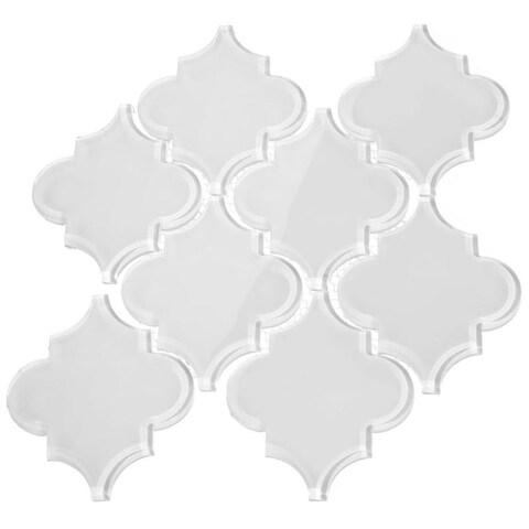 Giorbello White Glass Arabesque Tiles (7 Square Feet) (11 Sheets)
