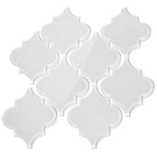 Giorbello White Glass Arabesque Tiles (7 Square Feet) (11 Sheets)