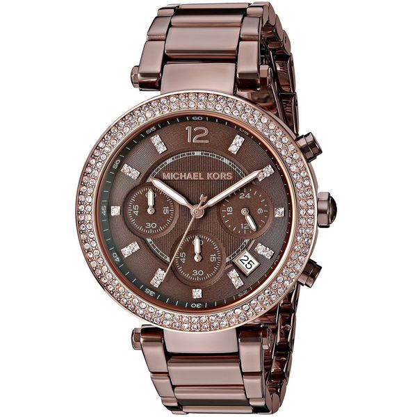 Michael Kors Women's MK6378 'Parker' Chronograph Crystal Brown Stainless Steel Watch