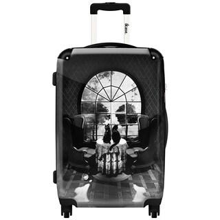 iKase Black and White Room Skull 20-inch Fashion Hardside Spinner Suitcase
