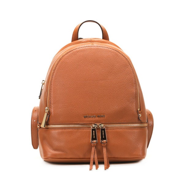 6b3e645fe729 Shop Michael Kors Women s Rhea Brown Leather Small Zipper Backpack ...