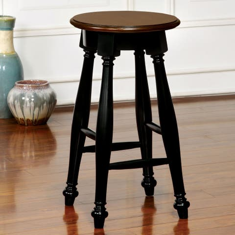 Furniture of America Kis Country Solid Wood Counter Stools (Set of 2)