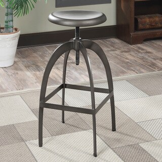 Furniture of America Raze Industrial Round Metal Height Adjustable Bar Stool