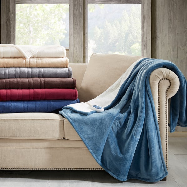 Woolrich Oversized Plush to Berber Heated Throw 7-Color Options