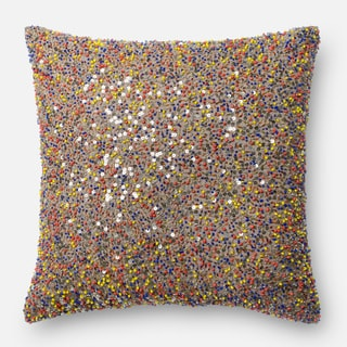 Beaded Multi Down Feather or Polyester Filled 18-inch Throw Pillow or Pillow Cover