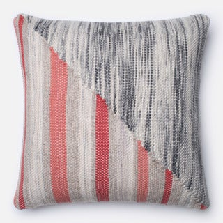 Woven Grey/ Coral Modern Stripe Down Feather or Polyester Filled 22-inch Throw Pillow or Pillow Cover
