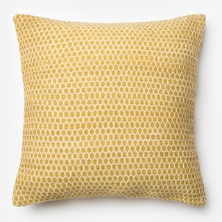 Poplin Lemon Woven Wool Down Feather or Polyester Filled 22-inch Throw Pillow or Pillow Cover