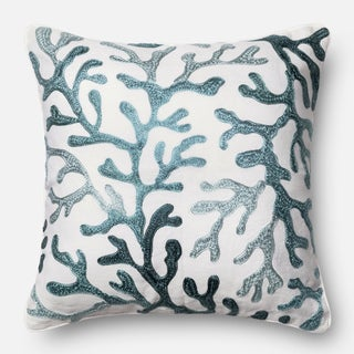 Embroidered Ivory/ Blue Coral Feather and Down Filled or Polyester Filled 18-inch Throw Pillow or Pillow Cover