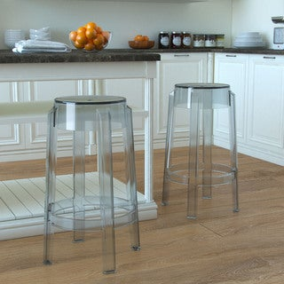 Gibson Living Phantom Grey/Clear Plastic 26-inch Mid-century Design Backless Counter Stool