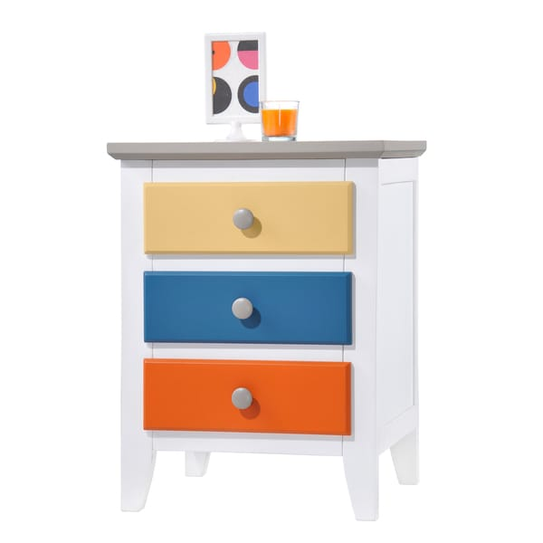 Donco Kids Colorful Three Drawer Wood Nightstand Free