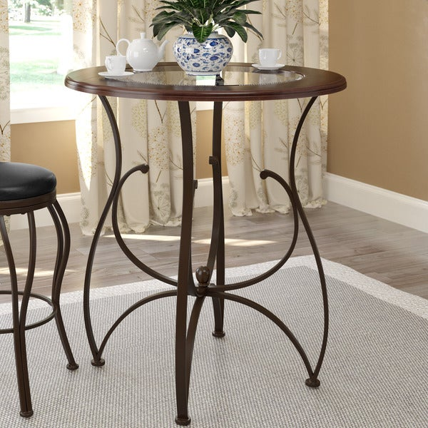 Bar Dining Tables: CorLiving Warm Stained Wood And Glass Bar Height Dining
