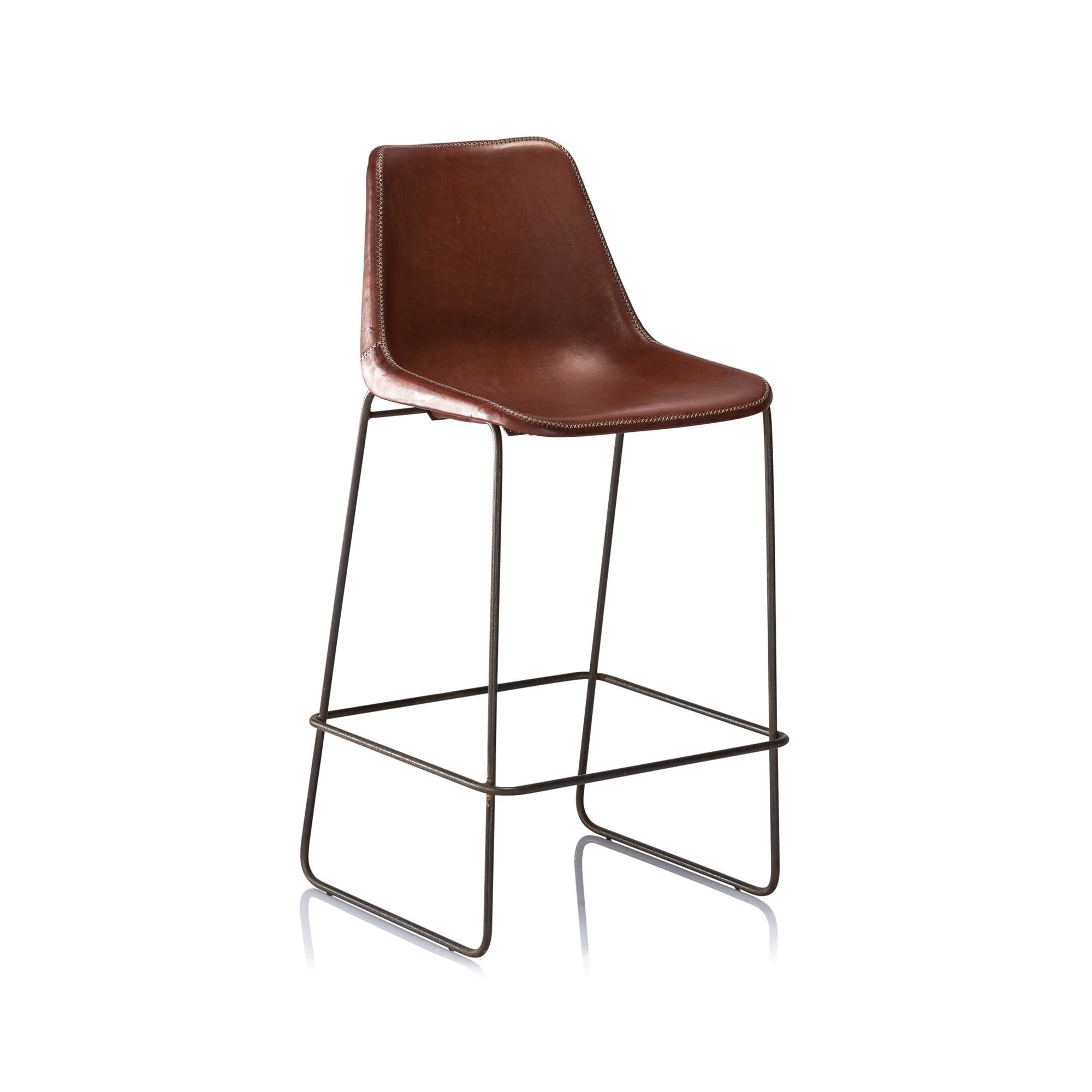 Horizon hudson brown leather bar stool