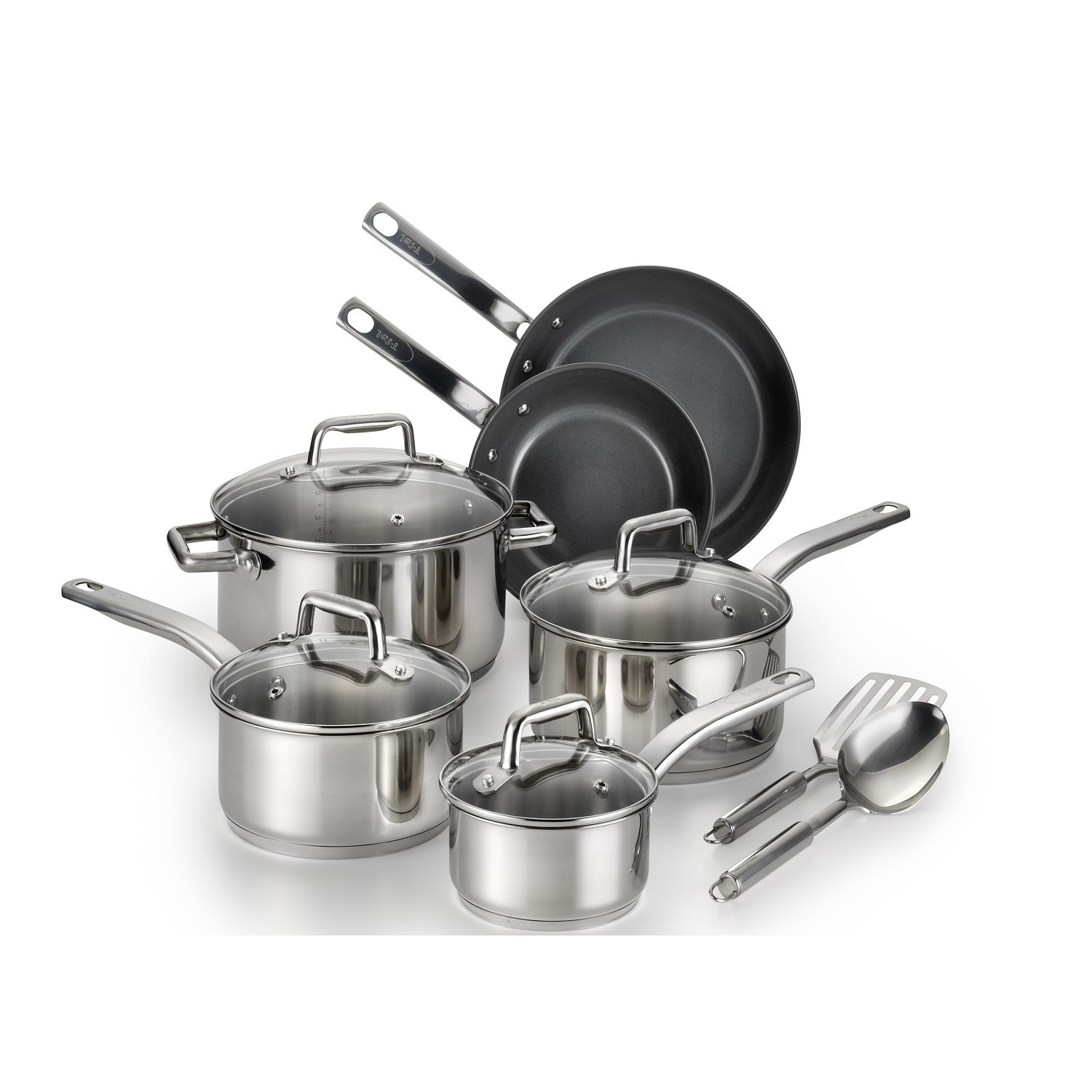 T-FAL Precision Ceramic Stainless Cookware Set, Silver st...