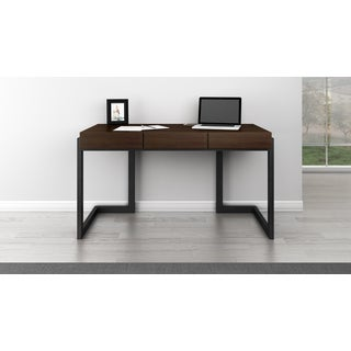 Furnitech Signature Home Collection FT56CWD Walnut Wood 56-inch Writing Desk with 3 Drawers