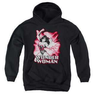 JLA/Wonder Woman Red & Gray Youth Pull-Over Hoodie in Black