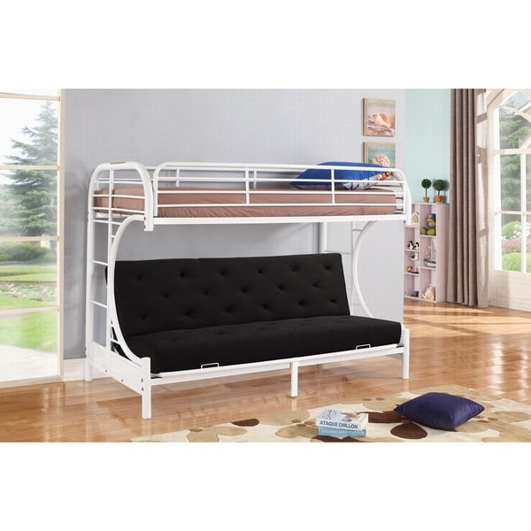 Jordan Twin C Shaped White Metal Futon And Bunkbed Combo By Nathaniel Home