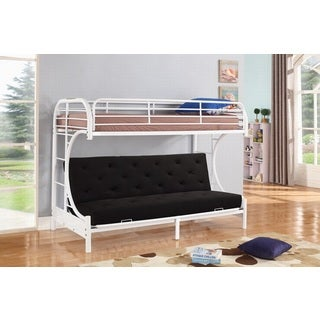 Jordan Twin C-shaped White Metal Futon and Bunkbed Combo By Nathaniel Home