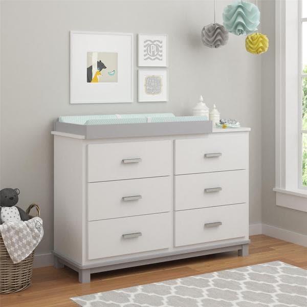 Ameriwood Home Leni White Light Slate Grey 6 Drawer
