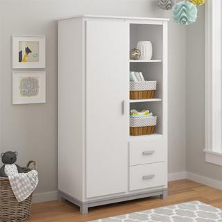 Altra Leni White/Light Slate Grey Armoire by Cosco