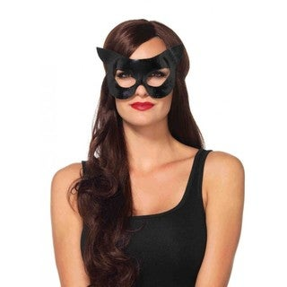 Black Polyurethane Halloween Cat Mask