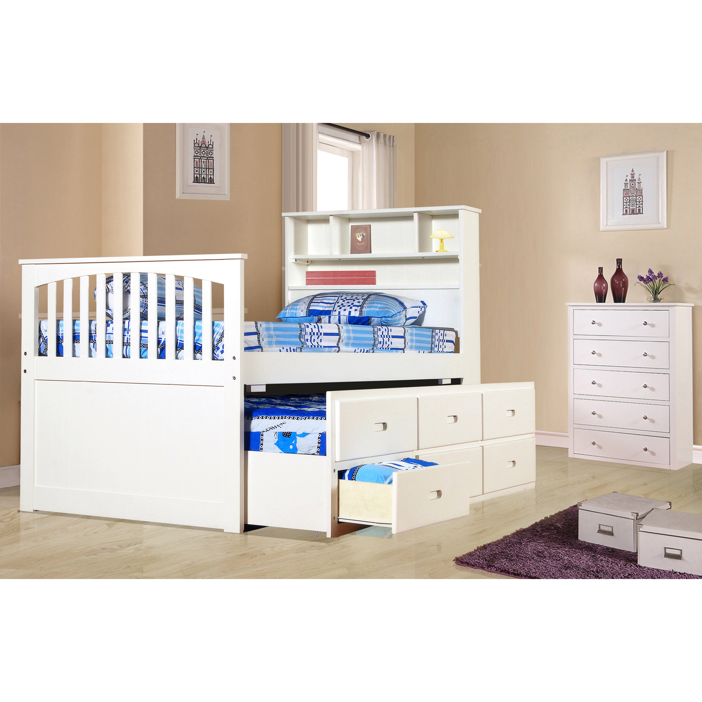 Ava Twin Captain Trundle Bed with Bookshelf and Drawers (...