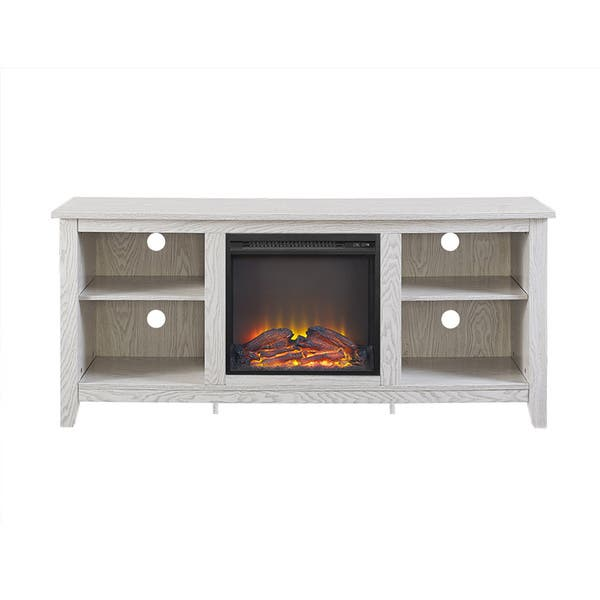 Shop 58 Fireplace Tv Stand Console White Wash On Sale