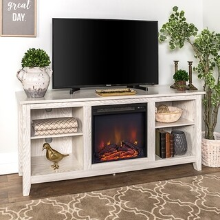 "58"" Fireplace TV Stand Console - White Wash"