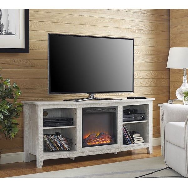 58 white wood fireplace tv stand free shipping today 19267715. Black Bedroom Furniture Sets. Home Design Ideas