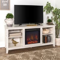 """58"""" Fireplace TV Stand Console - White Wash - 58 x 16 x 24h"""