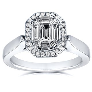 Annello by Kobelli 14k White Gold 1/2ct Emerald and Round Diamond Art Deco Cathedral Engagement Ring