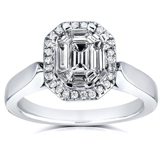 Annello 14k White Gold 1/2ct Emerald and Round Diamond Art Deco Cathedral Engagement Ring (H-I, I1-I2)