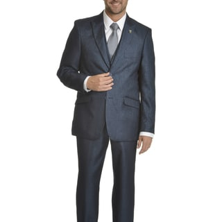 Stacy Adams Men's Shark-skin Pattern Polyester 3-piece Suit