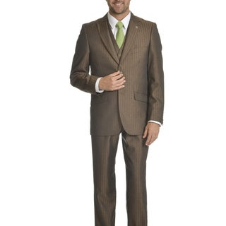 Stacy Adams Men's Tonal-stripe Polyester and Rayon 3-piece Suit