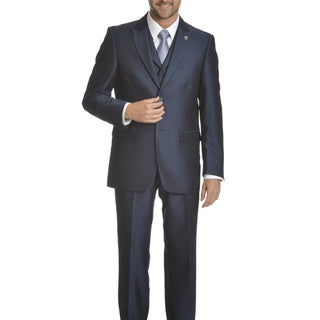 Stacy Adams Men's Blue/Black/Grey Pinstripe Polyester/Rayon 3-piece Suit
