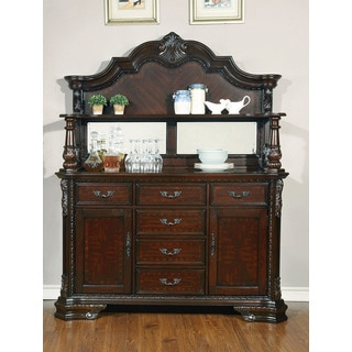 Coaster Company Carved Cherry Wooden Buffet Hutch