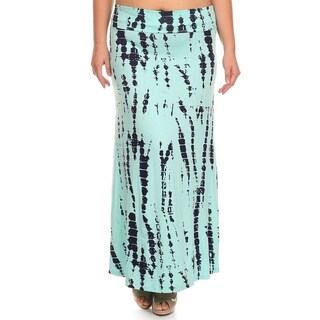 Women's Plus Size Multicolor Rayon and Spandex Tie Dye Maxi Skirt