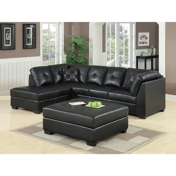 Shop Coaster Company Darie Black Bonded Leather Sectional ...