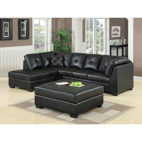 coaster company darie black bonded leather sectional - Leather Sectional Couch With Recliner