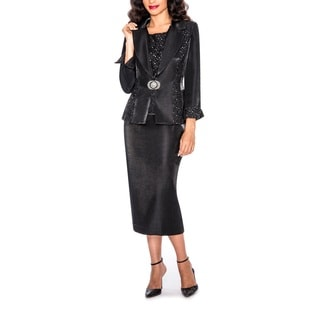 Giovanna Signature Women's Lace and Sequins 3-piece Trim Skirt Suit