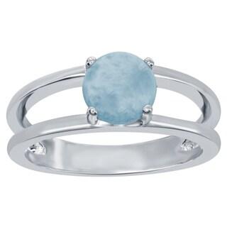 La Preciosa Sterling Silver Prong-Set 6-millimeter Larimar Ring