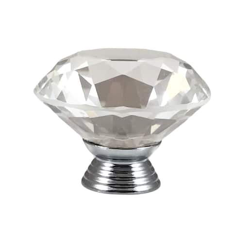 Clear Faceted Crystal Glass Diamond Cut 1.5-inch Knob Pull (Pack of 6)