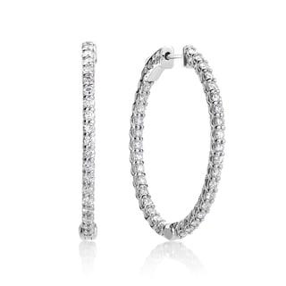 SummerRose 14k White Gold 2 1/2ct TDW Diamond Oval Hoop Earrings
