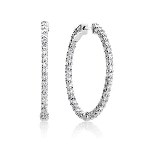 SummerRose 14k White Gold 2 1/2ct TDW Diamond Oval Hoop Earrings