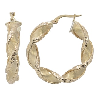Fremada Italian 14k Yellow Gold Satin and Diamond-cut Finished Twisted Round Hoop Earrings